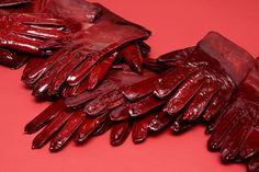 Detail of blood red gloves at Hermès flagship store in London - installation by designers Studio Toogood. Hermes London, Faye Toogood, Red Gloves, Leather Gloves, Peter Quill, Oxblood, Red Hood, Fire Emblem, Something To Do