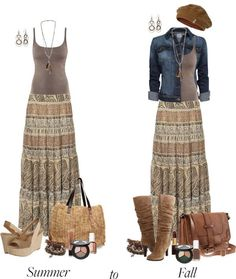 """Summer to Fall: Maxi Skirts"" by chrissykp ❤ liked on Polyvore"