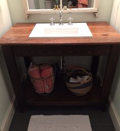 Bathroom Vanity with Reclaimed Wood Top by CreekBendDesigns