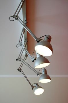 Always love ceiling or wall mounted Anglepoise..... Make funky studio lights from Ikea