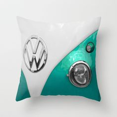 VW Split Screen in Teal Throw Pillow by Alice Gosling - $20.00