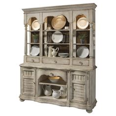 Hand-finished radiata wood buffet and hutch with beadboard-inspired detailing and crown moldings.   Product: Buffet and hutch