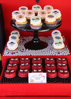Awesome cookies at a Spiderman superheroes party!  See more party planning ideas at CatchMyParty.com!