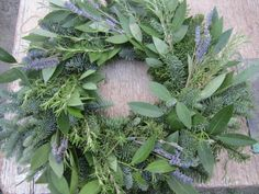 Herb wreath with Bay, Lavender and Rosemary.. Bainbridge Gardens Wreath Making