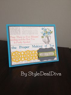 A Cup of Thanks card by StyleDealDiva on Etsy, $3.00 using Stampin' Up!'s Tea Shoppe set and Tea for Two dsp