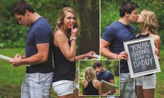 Using a chalkboard, Brianne Dow, 24, revealed to her husband Brandon, 26, that she is expecting — a surprise caught on camera by Wisconsin photographer Samantha Boos.