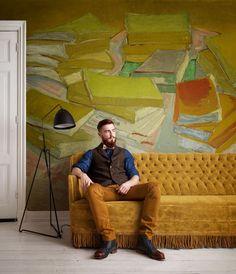 Van Gogh I Collection : mural- Tektura Wallcoverings Van Gogh Wallpaper, Painting Wallpaper, Wallpaper Samples, Mural Painting, Flower Wallpaper, Photo Wallpaper, Ceiling Painting, Ceiling Art, Art Background