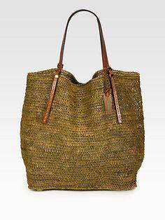 Michael Kors - Crocheted Raffia NS Tote/Leather Handles - Saks.com