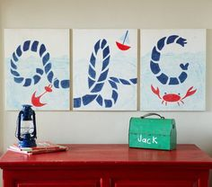 Cute ABC wall art. Could totally DIY this in different colors.