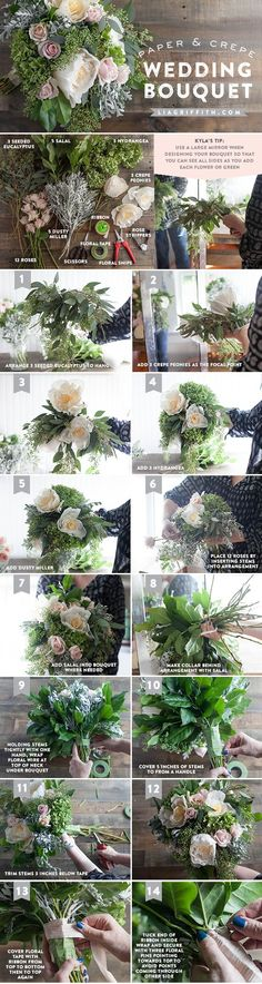 Step by step tutorial how to make your own wedding bouquet using gorgeous fresh and crepe paper flowers.: