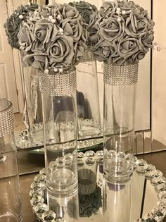 6 Flower kissing balls in silver/gray or color of your choice, with pearls, pomanders, beautiful wedding decor reception decor Silver Wedding Decorations, Sweet 16 Decorations, Graduation Decorations, Bridal Shower Decorations, Reception Decorations, Event Decor, Kissing Ball, Wedding Table, Diy Wedding