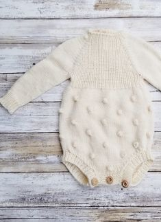Hand Knitted Popcorn Baby Romper | tlcrochetknitting on Etsy