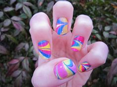 I love water marble nails, i tried them and they are so cool! Nail Polish Designs, Nail Polish Colors, Nail Art Designs, Nails Design, Cute Nails, Pretty Nails, Water Marble Nail Art, Tie Dye Nails, Water Color Nails