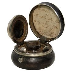 Nineteenth Century Leather Covered Traveling Inkwell with Bird