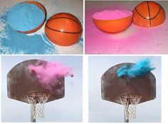 Gender Reveal BasketBall DIY Kit Exploding Basketballs for Basketball Gender Reveal, Gender Reveal Box, Gender Reveal Themes, Basketball Kit, Gender Party, Baby Gender Reveal Party, Do It Yourself Baby, Baby Shower Activities, Shower Games