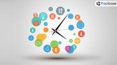 Creative time innovative clock colorful circles prezi presentation template