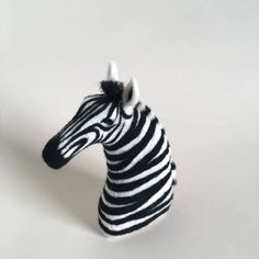 Needle Felted Zebra // Zebra Finger Puppet // Felted Zebra // Felted Animal