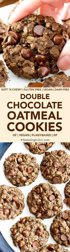 Gluten Free Double Chocolate Chip Oatmeal Cookies (V, GF, Dairy-Free) - Beaming Baker (recipes for snacks chocolate chips) Healthy Cookies, Healthy Sweets, Easy Vegan Cookies, Gluten Free Sugar Cookies, Gluten Free Biscuits, Healthy Chocolate Chip Cookies, Gluten Free Chocolate Chip Cookies, Oatmeal Chocolate Chip Cookies, Vegan Oatmeal Cookies