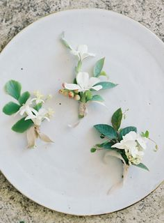 spring boutonnieres, styling by Jen Huang Photo, design by Studio Mondine
