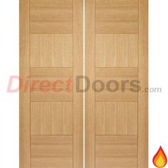 Quebec Oak Flush Fire Door Pair is Pre-Finished and 30 Minute Fire Rated  #flushdoublefiredoors #oakfiredoors #directdoors
