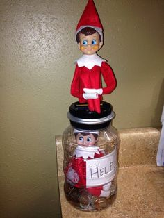 Elf on the Shelf Mischief The elves are alreay getting into mischief! Candy was looking for some help, since it seems Chippy trapped her inside our piggy bank!