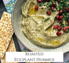 Roasted eggplant pairs beautifully white beans, tahini, lemon, parsley and garlic making this hummus perfect for dipping your favorite veggies or crackers. Eggplant Hummus, Roast Eggplant, Yummy Appetizers, Appetizer Recipes, Healthy Dips, Healthy Eating, Allergy Free Recipes, Vegan Recipes, Mediterranean Recipes