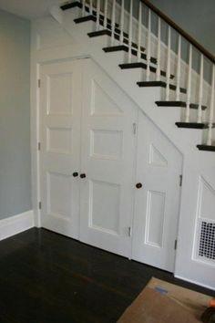 under- stair-storage-solution-staircase-foyer-hallway-shoes-coat- - New Ideas Basement Storage, Basement Stairs, Basement Bedrooms, Stair Storage, Basement Ideas, Rustic Basement, Basement Ceilings, Walkout Basement, Hidden Storage