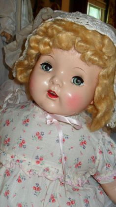 large composition doll hard plastic head vintage baby doll mohair wig ~ Reminds me of the doll I had.