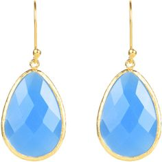 Latelita London - Gold Single Drop Earring Chalcedony (9515 RSD) ❤ liked on Polyvore featuring jewelry, earrings, blue earrings, chalcedony jewelry, gold jewelry, chalcedony drop earrings e french hook earrings