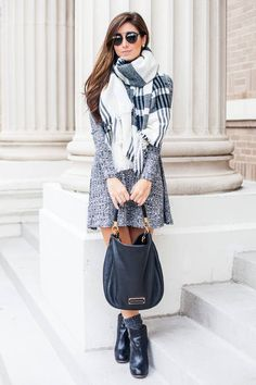 Gray With Black And White Fall Street Style Inspo