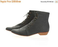 FINAL BOOTS SALE Dark stone boots High Polly-Jean by TamarShalem
