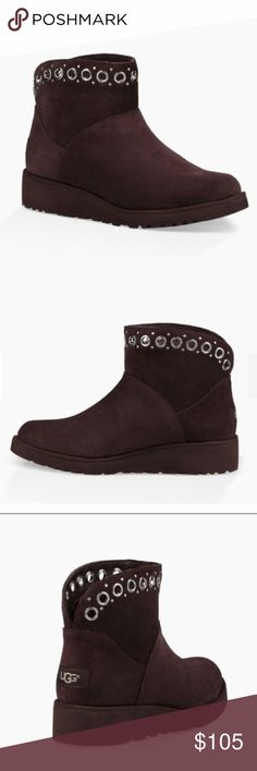 """✨NEW UGG RILEY. color:STOUT Model: 1020054 A touch of hardware transforms this suede mini boot, elevated by a subtle wedge. Let the curved topline pop against tucked in jeans. Suede Metal grommet details Sheepskin lining UGGpure™ wool insole Added arch support Treadlite by UGG™ outsole Microsuede binding 5"""" shaft height UGG Shoes Ankle Boots & Booties"""