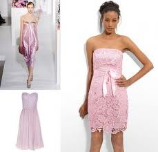 Pink lace bridesmade dress these r cute tina