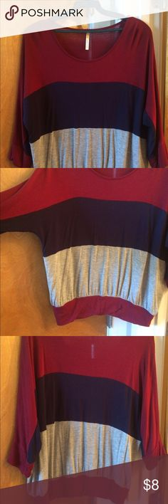 Half sleeve color block domain top Maroon, navy blue and gray color block domain top with elastic band on bottom of shirt. Worn only once Tops Tees - Long Sleeve