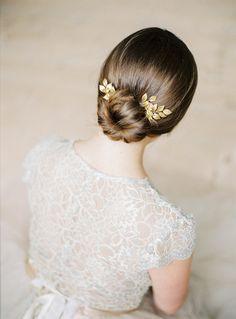Gold bridal pins Gold leaf headpiece-Bridal Gold by TWRaccessories