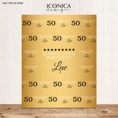 50th birthday party custom backdrops step and repeat 50 birthday parties and gold crown. Black Bedroom Furniture Sets. Home Design Ideas