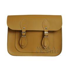 Bolsa Croisfelt Satchel II, Carteiro, Amarelo Mostarda, Couro Legítimo 11'' Retrô Vintage #moda #fashion