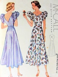 McCALL 9335 PARTY FROCK PATTERN 1930s BIAS CUT EVENING DRESS, LOVELY PUFF SLEEVES, DEEP V BACK