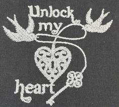 Digital Embroidery Design  Unlock my heart by EmbroideryDesignsBRN