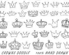 Doodle Flowers Clipart and Vectors Hand Drawn by StudioDenmark