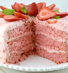 Triple Layer Strawberry Cake ...I grew up adoring this cake...it was almost always my birthday request. The only way it differed was we usually had a 7-Minute frosting with frozen or fresh strawberries in it. Delicious...we never had lots of money, but we were rich in love.