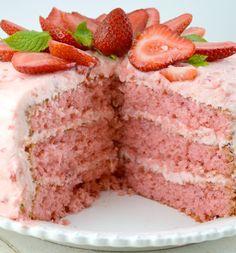 Triple Layer Strawberry Cake