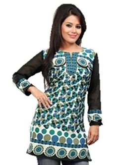 Indian Tunic Top Womens / Kurti Printed Blouse tops - AZDKJD-50C2-2XL Arras Creations http://www.amazon.com/dp/B00NE5B480/ref=cm_sw_r_pi_dp_w4tVub0NTWMNT