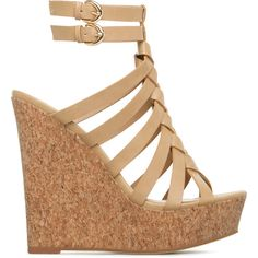 ShoeDazzle Wedge Zosia Womens Beige ❤ liked on Polyvore featuring shoes, beige, wedges, platform wedge shoes, cork wedge platform shoes, woven shoes, cocktail shoes and cork wedge shoes