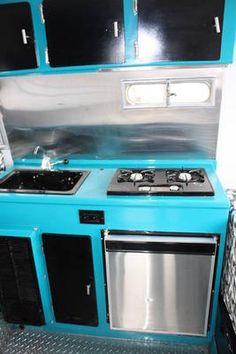 Electric blue, black and zing boler kitchen. Scamp Trailer, Gypsy Trailer, Little Trailer, Camper Trailers, Camper Storage, Diy Camper, Retro Rv, Vintage Camper Interior, Small Rv