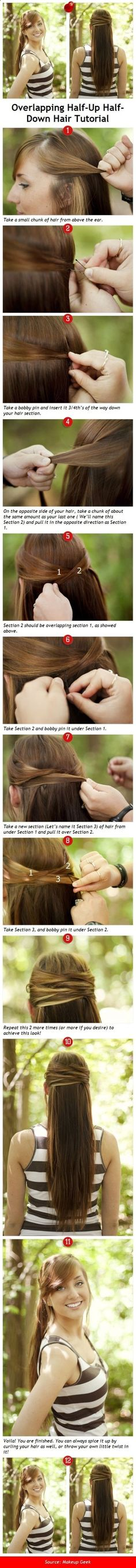 Half-up Half-down Hairstyles & Hair Tutorials for Women overlapping half-up half-down hair tutorial .overlapping half-up half-down hair tutorial . Diy Hairstyles, Pretty Hairstyles, Wedding Hairstyles, Perfect Hairstyle, Simple Hairstyles, Everyday Hairstyles, Half Up Half Down Hair Tutorial, Half Updo, Coiffure Hair