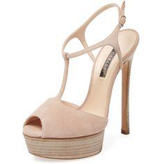 Casadei Casadei Women's Suede Peep-Toe Platform Pump - Cream/Tan -... ($399) ❤ liked on Polyvore featuring shoes, pumps, heels, high heel platform pumps, peep toe platform pumps, peep-toe pumps, tan pumps and cream pumps