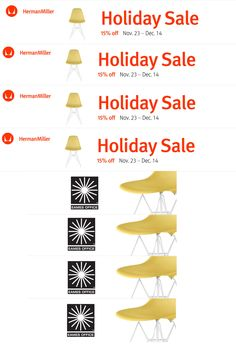 Herman Miller Holiday Sale!  Save 15% from November 23 to December 14!  @hermanmiller   Herman Miller Sale 15% off + free standard shipping on everything storewide through Dec 14  Iconic design rarely comes this easy. Shop for award winning office chairs and timeless designs from Eames, Nelson, and Girard. Select products are in stock with expedited shipping available.