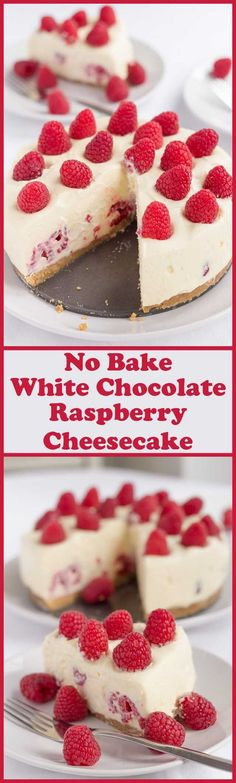 Indulge a little here with this no bake white chocolate and raspberry cheesecake. A tasty crunchy biscuit base covered in a light creamy white chocolate filling stuffed with fresh raspberries. christmas make,no bake desserts Yummy Eats, Yummy Food, Delicious Desserts, Cheesecake Recipes, Dessert Recipes, Oreo Cheesecake, Pumpkin Cheesecake, Baking Recipes, White Chocolate Raspberry Cheesecake