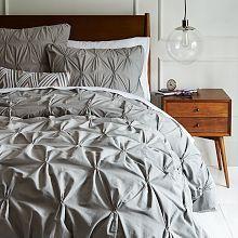 Organic Cotton Pintuck Duvet Cover + Shams - Slate | west elm